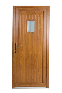 Pine effect uPVC Door with Square Window