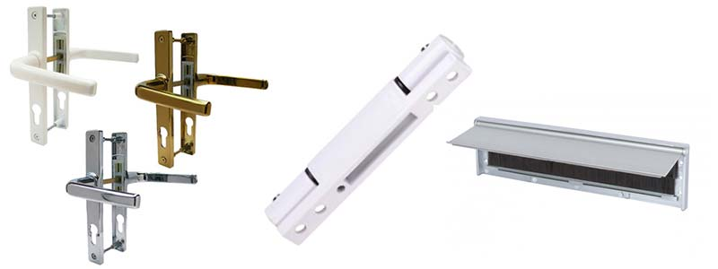 uPVC door handles hinge and a letterbox