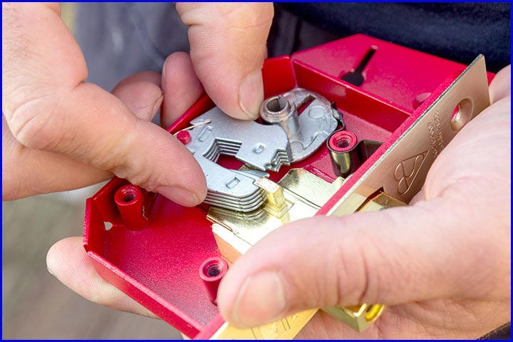 Lock being repaired